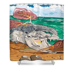 Shower Curtain featuring the painting Crocodile Emphysema by Lazaro Hurtado