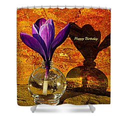 Crocus Floral Birthday Card Shower Curtain