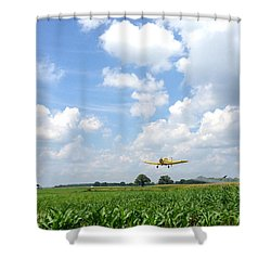 Yellow Crop Duster Shower Curtain