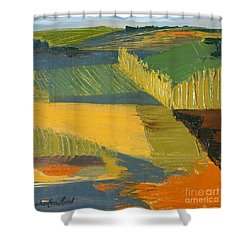 Shower Curtain featuring the painting Crop Fields by Erin Fickert-Rowland