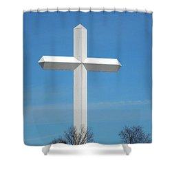 Cross And Flag Under God Shower Curtain