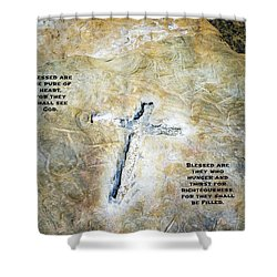 Cross And The Beatitudes Shower Curtain
