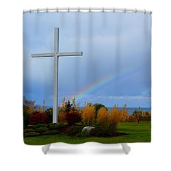 Cross At The End Of The Rainbow Shower Curtain by Keith Stokes
