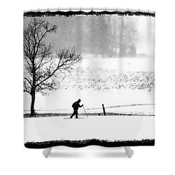 Cross Country Skiier Canaan Valley Shower Curtain by Dan Friend