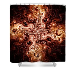 Cross Of Fire Shower Curtain by Anastasiya Malakhova