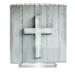Cross On Holy Angels Sugar Island Michigan Shower Curtain