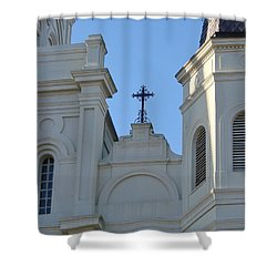 Cross On The Cathedral Shower Curtain by Margaret Bobb