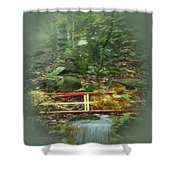 Shower Curtain featuring the mixed media A Bridge To Cross by Ray Tapajna