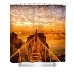 Cross That Bridge Shower Curtain by Catherine Lott
