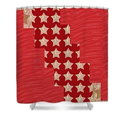 Cross Through Sparkle Stars On Red Silken Base Shower Curtain