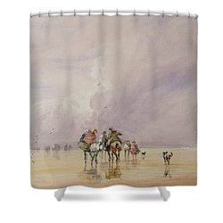Crossing Lancaster Sands Shower Curtain by David Cox