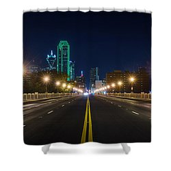 Crossing The Bridge To Downtown Dallas At Night Shower Curtain