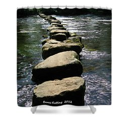 Shower Curtain featuring the painting Crossing The Creek by Bruce Nutting