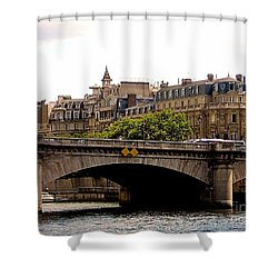 Crossing The Seine Shower Curtain by Lauren Leigh Hunter Fine Art Photography