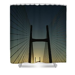 Shower Curtain featuring the photograph Crossing The Severn Bridge At Sunset - Cardiff - Wales by Vicki Spindler