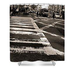 Crosswalk In New York City Shower Curtain by Dan Sproul