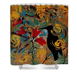 Crow Healing In The Ancient Garden Shower Curtain