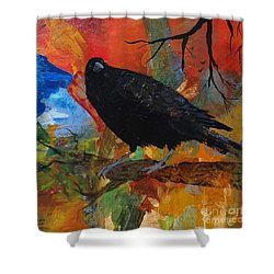 Crow On A Branch Shower Curtain by Robin Maria Pedrero