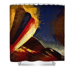 Shower Curtain featuring the digital art Crowd Confusion by Kirt Tisdale