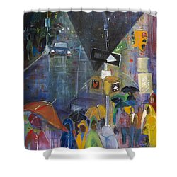 Crowded Intersection Shower Curtain by Leela Payne