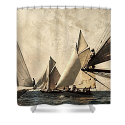 A Vintage Processed Image Of A Sail Race In Port Mahon Menorca - Crowded Sea Shower Curtain