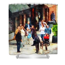 Crowded Sidewalk In New York Shower Curtain by Susan Savad