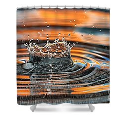Shower Curtain featuring the photograph Crown Shaped Water Drop Macro by Teresa Zieba