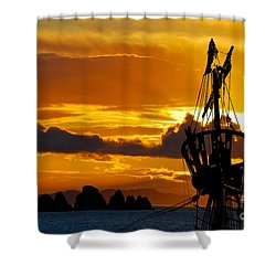 Crows Nest Silhouette On Newfoundland Coast Shower Curtain by Les Palenik