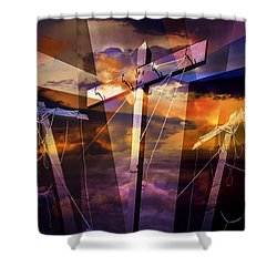 Crucifixion Crosses Composition From Clotheslines Shower Curtain by Randall Nyhof