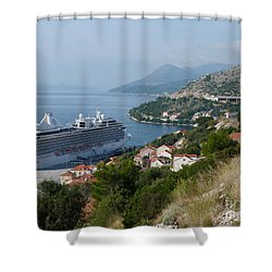 Shower Curtain featuring the photograph Cruise Ship Riviera - Dubrovnik by Phil Banks