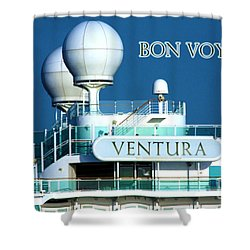Cruise Ship Ventura's Radar Domes Shower Curtain by Terri Waters