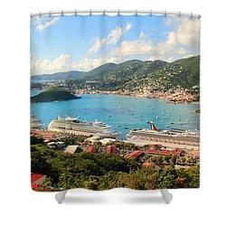 Cruise Ships In St. Thomas Usvi Shower Curtain