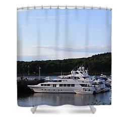 Cruiseships At Bar Harbor Shower Curtain by Dora Sofia Caputo Photographic Art and Design