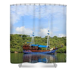 Cruising Yacht Shower Curtain by Sergey Lukashin