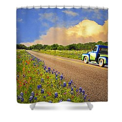 Crusin' The Hill Country In Spring Shower Curtain