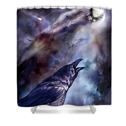 Cry Of The Raven Shower Curtain by Carol Cavalaris