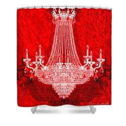crystal chandelier on red shower curtain