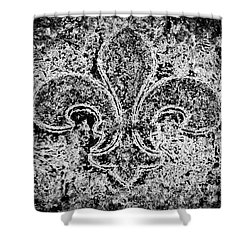Crystal Ice Fleur De Lis On Black Shower Curtain by Janine Riley