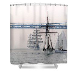 Crystal Ships On The Water Nyc Shower Curtain by Ed Weidman