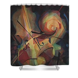 Cubist Play - Abstract Cello Shower Curtain