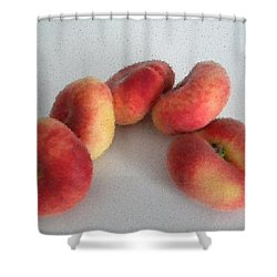 Cubist View Of Peento Peaches Shower Curtain by Manuela Constantin