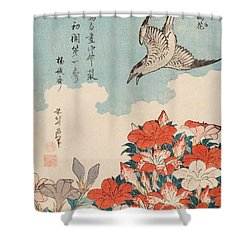 Cuckoo And Azaleas Shower Curtain by Katsushika Hokusai