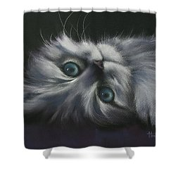 Shower Curtain featuring the drawing Cuddles by Cynthia House