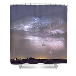 Cumulo-nimbus Lightning Storm And Star Trails Above Shower Curtain by James BO  Insogna
