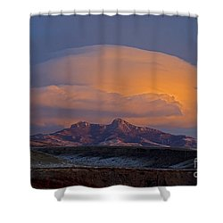 Cumulus Cloud Cap Over Heart Mountain   #2022 Shower Curtain