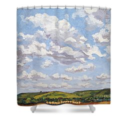 Shower Curtain featuring the painting Cumulus Clouds Over Flint Hills by Erin Fickert-Rowland