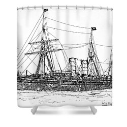 Shower Curtain featuring the drawing Cunard Liner Umbria 1880's by Ira Shander