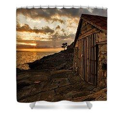 Cunski Beach At Sunrise Shower Curtain by Ian Middleton