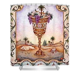 Cup Of Blessings - Gefen Shower Curtain by Michoel Muchnik