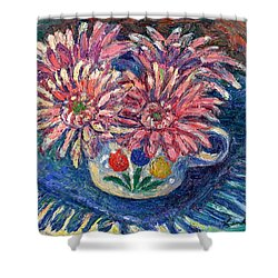 Cup Of Flowers Shower Curtain by Kendall Kessler